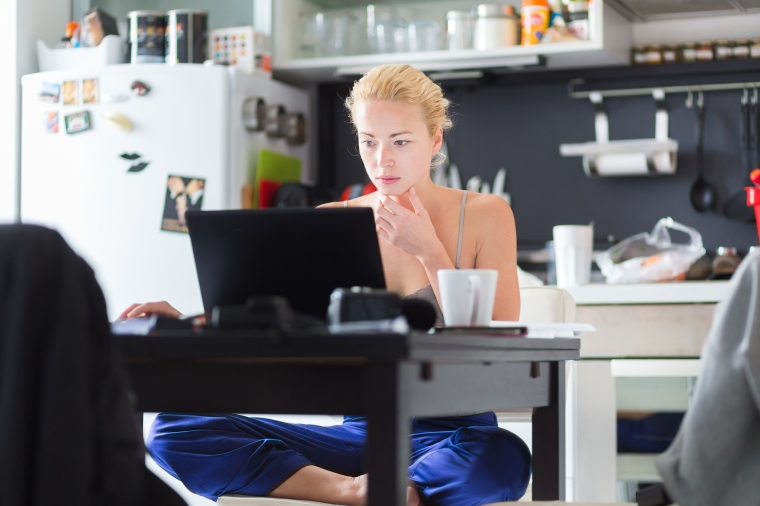 Female freelancer working from home.